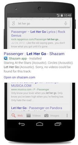 דוגמא: תוכן פנימי מתוך אפליקציה מוצג בתוצאות החיפוש.